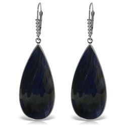 ALARRI 14K Solid White Gold Diamonds Leverback Earrings w/ Checkerboard Cut Sapphires