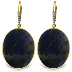 ALARRI 14K Solid Gold Diamonds Leverback Earrings w/ Checkerboard Cut Sapphires