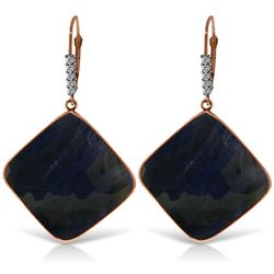 ALARRI 14K Solid Rose Gold Diamonds Leverback Earrings w/ Checkerboard Cut Sapphires