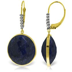 ALARRI 14K Solid Gold Diamonds Leverback Earrings w/ Checkerboard Cut Round Dyed Sapphires