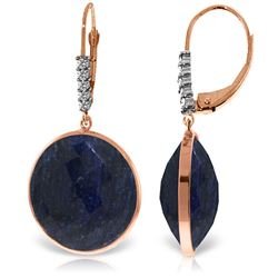 ALARRI 14K Solid Rose Gold Diamonds Leverback Earrings w/ Checkerboard Cut Round Dyed Sapphires