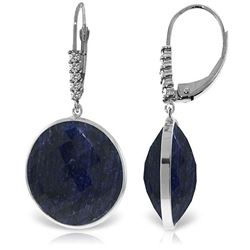 ALARRI 14K Solid White Gold Diamonds Leverback Earrings w/ Checkerboard Cut Round Dyed Sapphires