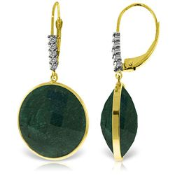 ALARRI 14K Solid Gold Diamonds Leverback Earrings w/ Round Emerald Color Corundum