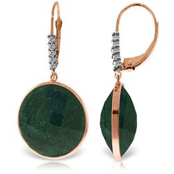 ALARRI 14K Solid Rose Gold Diamonds Leverback Earrings w/ Round Emerald Color Corundum