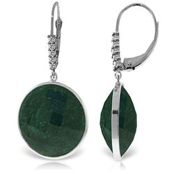 ALARRI 14K Solid White Gold Diamonds Leverback Earrings w/ Round Emerald Color Corundum