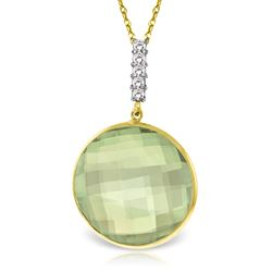 ALARRI 14K Solid Gold Necklace w/ Diamonds & Checkerboard Cut Green Amethyst