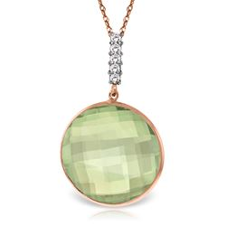 ALARRI 14K Solid Rose Gold Necklace w/ Diamonds & Checkerboard Cut Green Amethyst