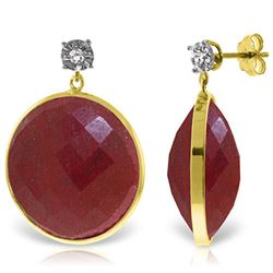 ALARRI 14K Solid Gold Diamonds Stud Earrings w/ Dangling Checkerboard Cut Round Dyed Rubies