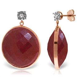 ALARRI 14K Solid Rose Gold Diamonds Stud Earrings w/ Dangling Checkerboard Cut Round Dyed Rubies