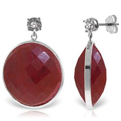 ALARRI 14K Solid White Gold Diamonds Stud Earrings w/ Dangling Checkerboard Cut Round Dyed Rubies
