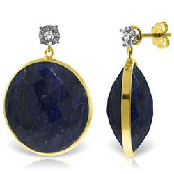 ALARRI 14K Solid Gold Diamonds Stud Earrings w/ Dangling Checkerboard Cut Sapphires