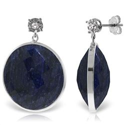 ALARRI 14K Solid White Gold Diamonds Stud Earrings w/ Dangling Checkerboard Cut Sapphires