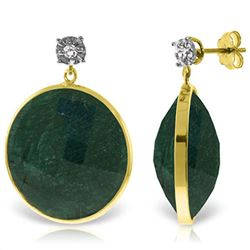 ALARRI 14K Solid Gold Diamonds Stud Earrings w/ Dangling Round Emerald Color Corundum