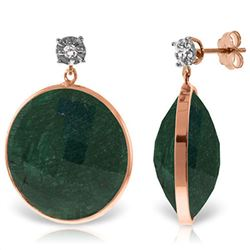ALARRI 14K Solid Rose Gold Diamonds Stud Earrings w/ Dangling Round Emerald Color Corundum
