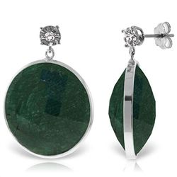 ALARRI 14K Solid White Gold Diamonds Stud Earrings w/ Dangling Round Emerald Color Corundum