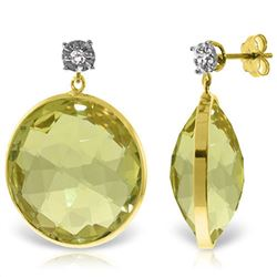 ALARRI 14K Solid Gold Diamonds Stud Earrings w/ Dangling Checkerboard Cut Lemon Quartz