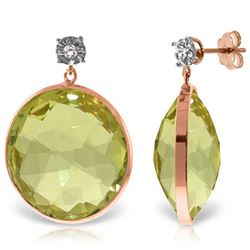 ALARRI 14K Solid Rose Gold Diamonds Stud Earrings w/ Dangling Checkerboard Cut Lemon Quartz