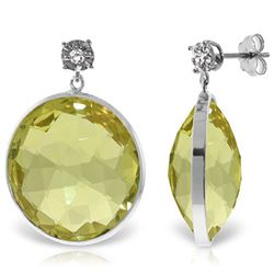 ALARRI 14K Solid White Gold Diamonds Stud Earrings w/ Dangling Checkerboard Cut Lemon Quartz