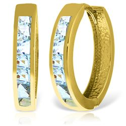 ALARRI 14K Solid Gold Hoop Huggie Earrings w/ Aquamarines