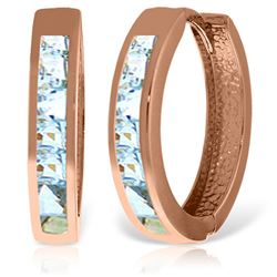 ALARRI 14K Solid Rose Gold Hoop Huggie Earrings w/ Aquamarines