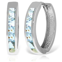 ALARRI 14K Solid White Gold Hoop Huggie Earrings w/ Aquamarines