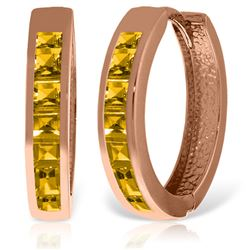 ALARRI 14K Solid Rose Gold Hoop Huggie Earrings w/ Citrines