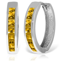 ALARRI 14K Solid White Gold Hoop Huggie Earrings w/ Citrines