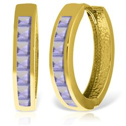 ALARRI 14K Solid Gold Hoop Huggie Earrings w/ Tanzanites