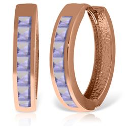 ALARRI 14K Solid Rose Gold Hoop Huggie Earrings w/ Tanzanites