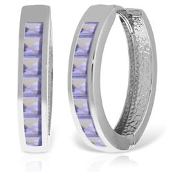 ALARRI 14K Solid White Gold Hoop Huggie Earrings w/ Tanzanites