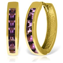 ALARRI 14K Solid Gold Hoop Huggie Earrings w/ Amethysts