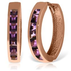 ALARRI 14K Solid Rose Gold Hoop Huggie Earrings w/ Amethysts