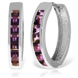 ALARRI 14K Solid White Gold Hoop Huggie Earrings w/ Amethysts