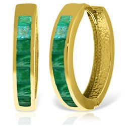 ALARRI 14K Solid Gold Hoop Huggie Earrings w/ Emeralds