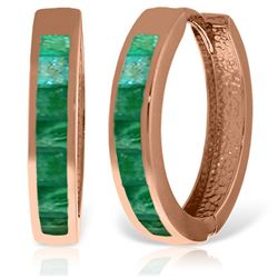 ALARRI 14K Solid Rose Gold Hoop Huggie Earrings w/ Emeralds