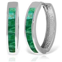 ALARRI 14K Solid White Gold Hoop Huggie Earrings w/ Emeralds