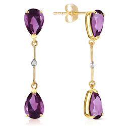 ALARRI 14K Solid Gold Diamonds & Amethysts Dangling Earrings