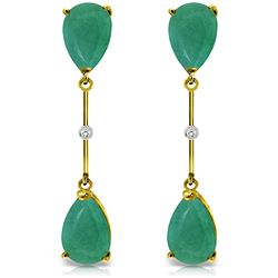 ALARRI 14K Solid Gold Diamonds & Emeralds Dangling Earrings