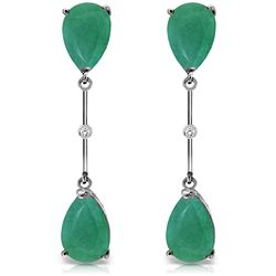 ALARRI 14K Solid White Gold Diamonds & Emeralds Dangling Earrings