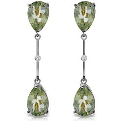 ALARRI 14K Solid White Gold Diamonds & Green Amethysts Dangling Earrings