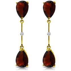 ALARRI 14K Solid Gold Diamonds & Garnets Dangling Earrings