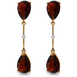 ALARRI 14K Solid Rose Gold Diamonds & Garnets Dangling Earrings