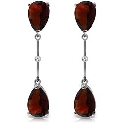 ALARRI 14K Solid White Gold Diamonds & Garnets Dangling Earrings