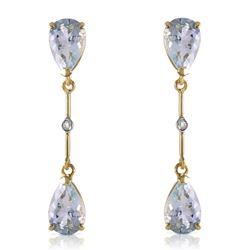 ALARRI 14K Solid Gold Diamonds & Aquamarines Dangling Earrings