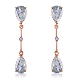 ALARRI 14K Solid Rose Gold Diamonds & Aquamarines Dangling Earrings