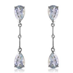 ALARRI 14K Solid White Gold Diamonds & Aquamarines Dangling Earrings