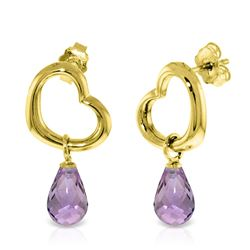 ALARRI 14K Solid Gold Heart Earrings w/ Dangling Natural Amethysts