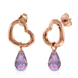 ALARRI 14K Solid Rose Gold Heart Earrings w/ Dangling Natural Amethysts