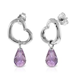 ALARRI 14K Solid White Gold Heart Earrings w/ Dangling Natural Amethysts