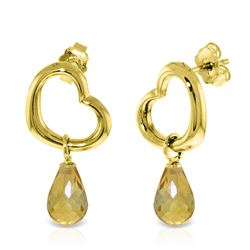 ALARRI 14K Solid Gold Heart Earrings w/ Dangling Natural Citrines